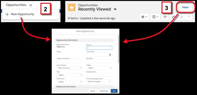 Criar um registro usando a barra de navegação ou as páginas iniciais de objetos
