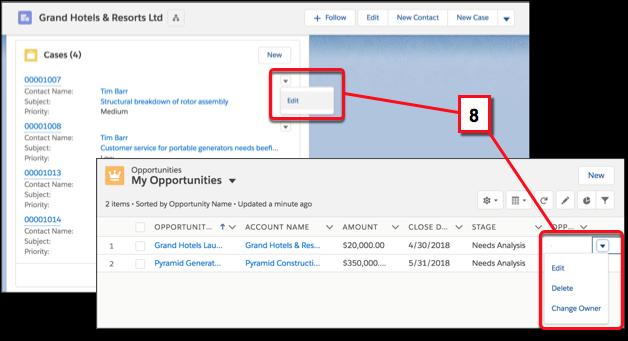 Editar registros em modos de exibição de lista ou listas relacionadas