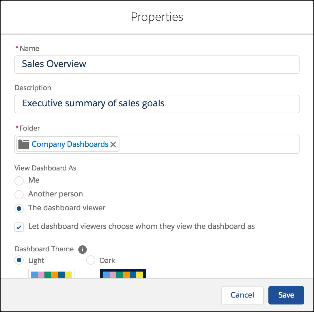 Dashboard Properties