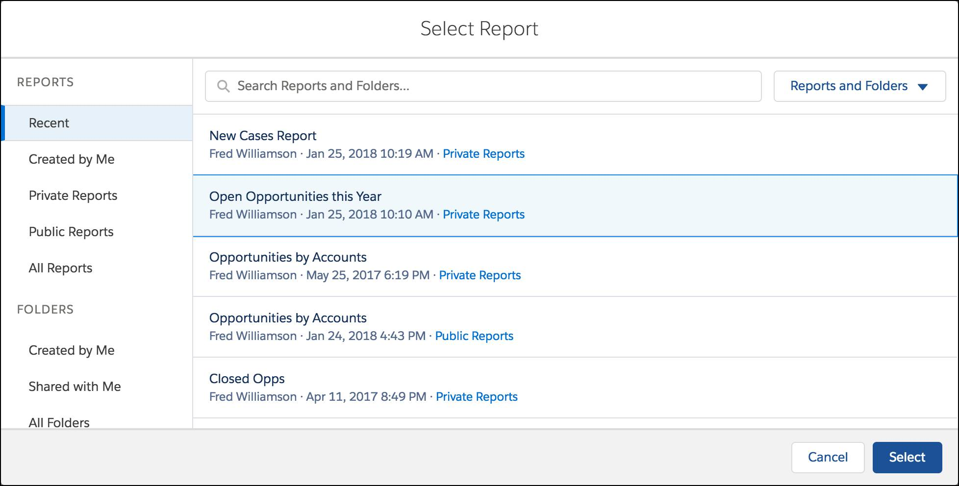 Selecting a Source Report