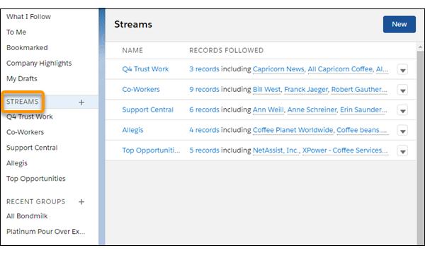 Streams homepage