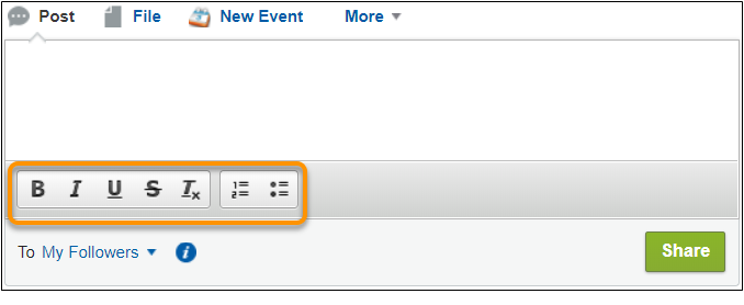 Salesforce Classic の Chatter パブリッシャー