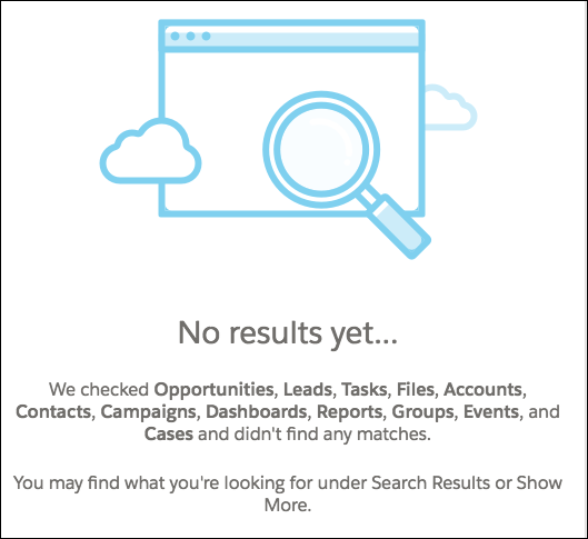 """No results"" message, with a list of objects searched"