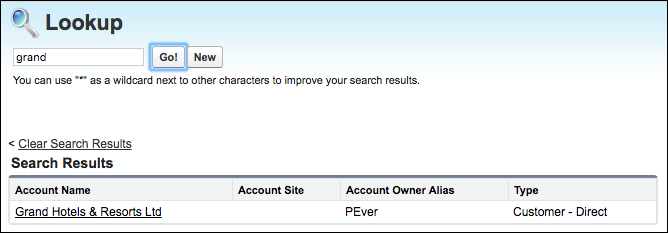 Lookup search results in Salesforce Classic