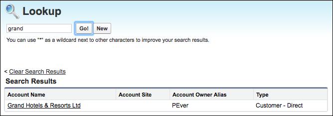 Salesforce Classic でのルックアップ検索結果