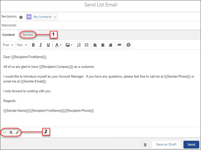 The List Email composer in Lightning Experience