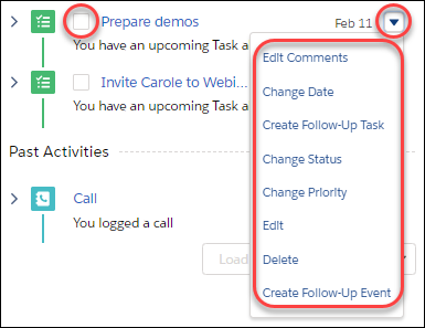 Change activity details from the activity timeline