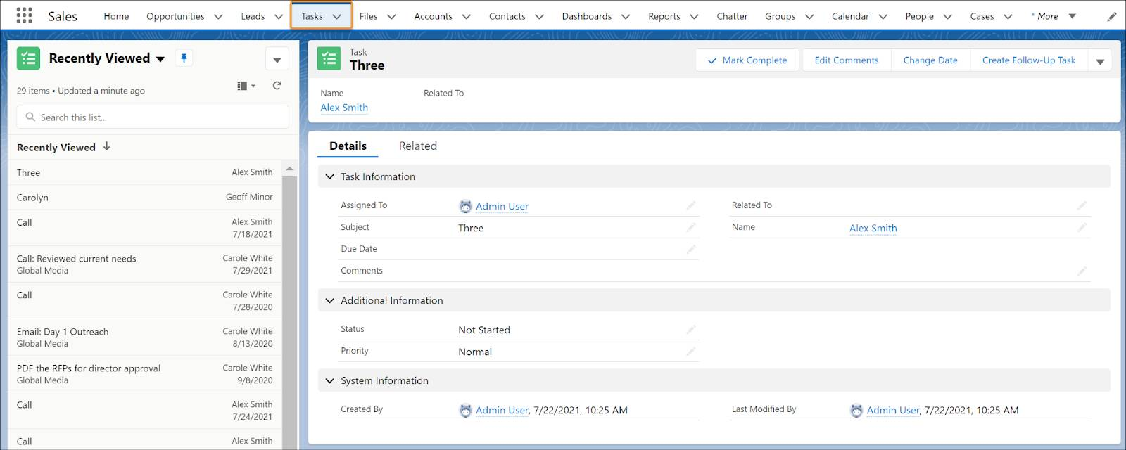 The Tasks home page in Lightning Experience