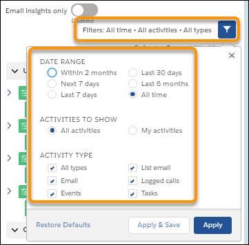 Filtern der Anzeige in der Aktivitätszeitachse
