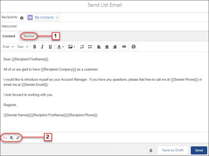 El redactor de email de lista en Lightning Experience
