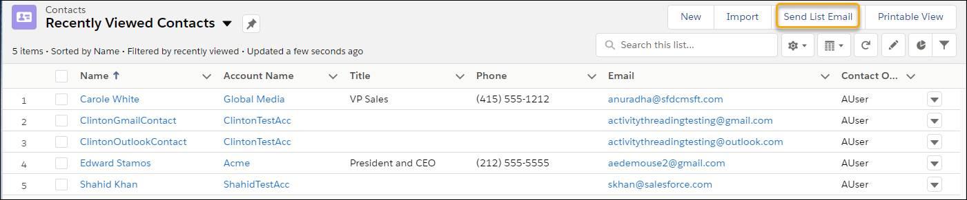 Función Email de lista en Lightning Experience