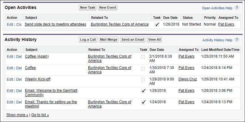 Las listas relacionadas de actividades en Salesforce Classic