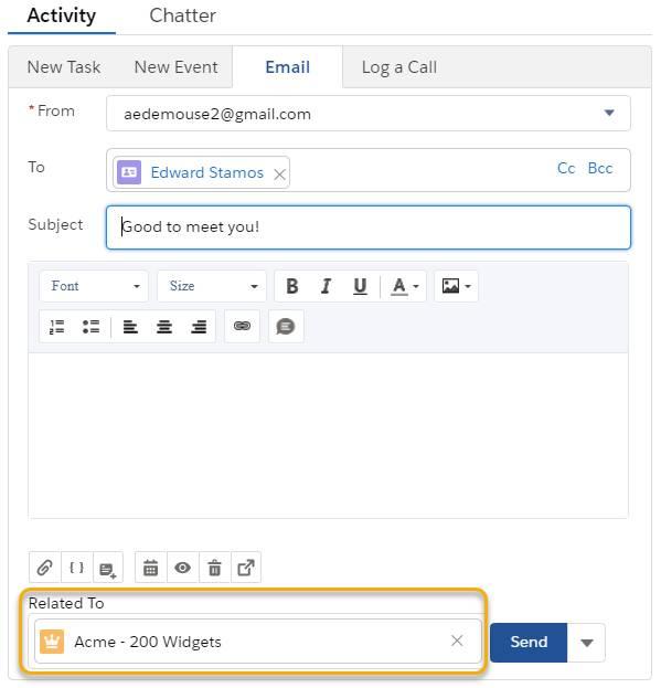 Relacionar um email a outro registro, uma oportunidade, por exemplo