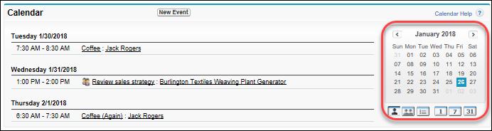 O calendário na página inicial no Salesforce Classic
