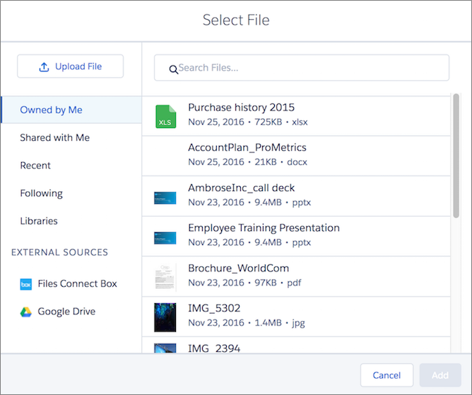 Attach files from Salesforce Files to records via the Files related list