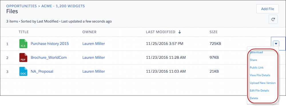 Aktionen, die Sie für eine Datei in einer Themenliste 'Dateien' durchführen können