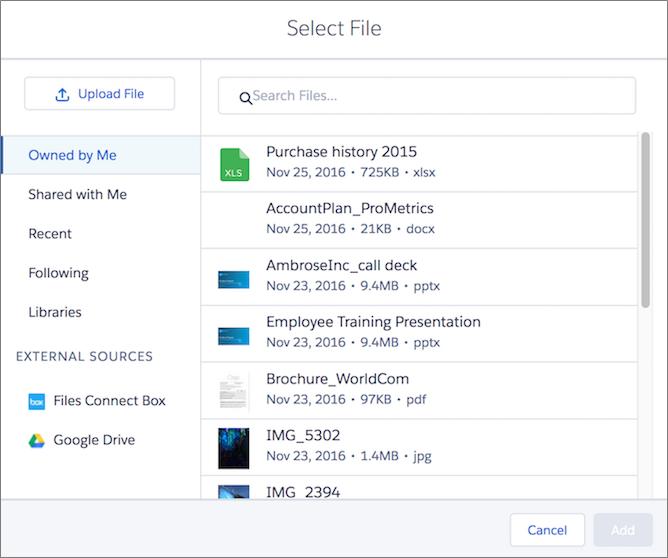 Anhängen von Dateien aus Salesforce Files über die Themenliste 'Dateien'
