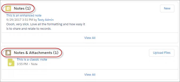 Las dos opciones de lista relacionada para acceder a notas en un registro