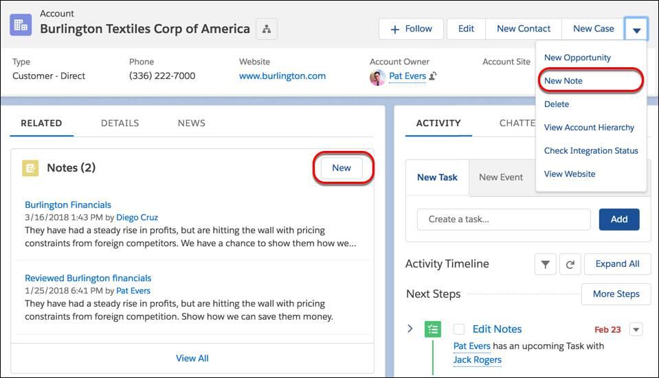 Nos registros, criar notas no menu de ação ou na lista relacionada Notas