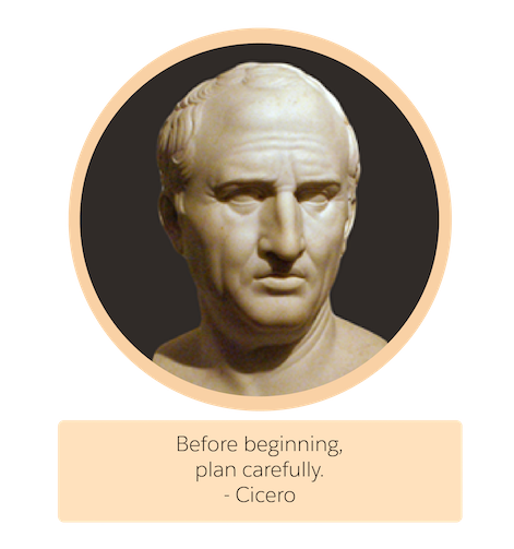 A bust of the Greek philosopher Cicero.