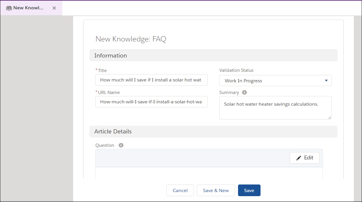 The New Knowledge FAQ page with Title, URL Name, Validation Status, and Summary filled out with Ada's values.