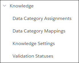 Knowledge menu in Setup opened to reveal Data Category Assignment, Data Category Mappings, Knowledge Settings, and Validation Statuses.