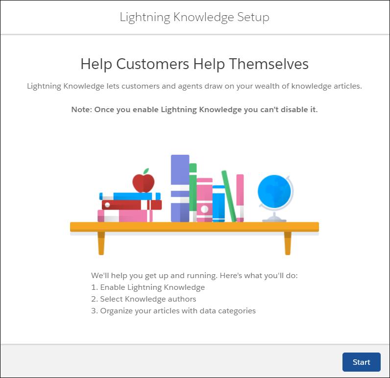 Le flux de configuration guidée de LightningKnowledge vous guide pas à pas pour dans l'activation de LightningKnowledge, la sélection des auteurs Knowledge et l'organisation de vos articles dans des catégories de données.
