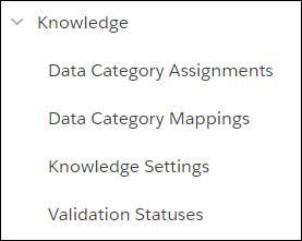 Menu Knowledge dans le menu Configuration ouvert affichant les pages Attributions de catégories de données, Mappages de catégories de données, Paramètres de Knowledge et Statuts de validation.