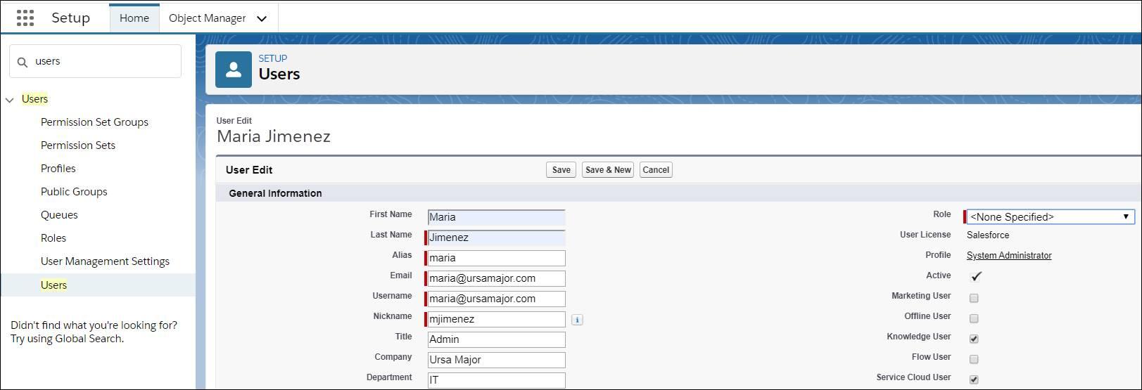 Maria が自分にナレッジユーザライセンスを割り当てるために実行したステップを表示する設定画面