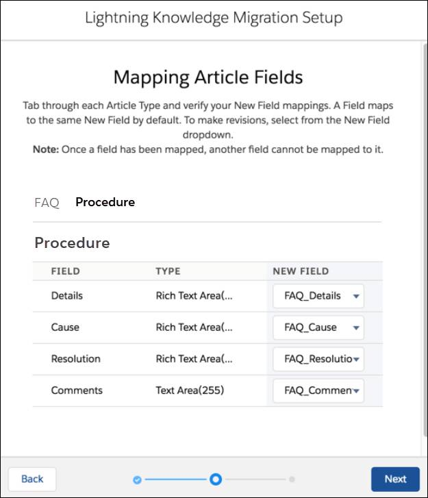 Lightning Knowledge Migration Tool displaying the Procedure article type with FAQ_Details mapped to Details. FAQ_Cause is mapped to Cause. FAQ_Resolution is mapped to Resolution. FAQ_Comments is mapped to comments.