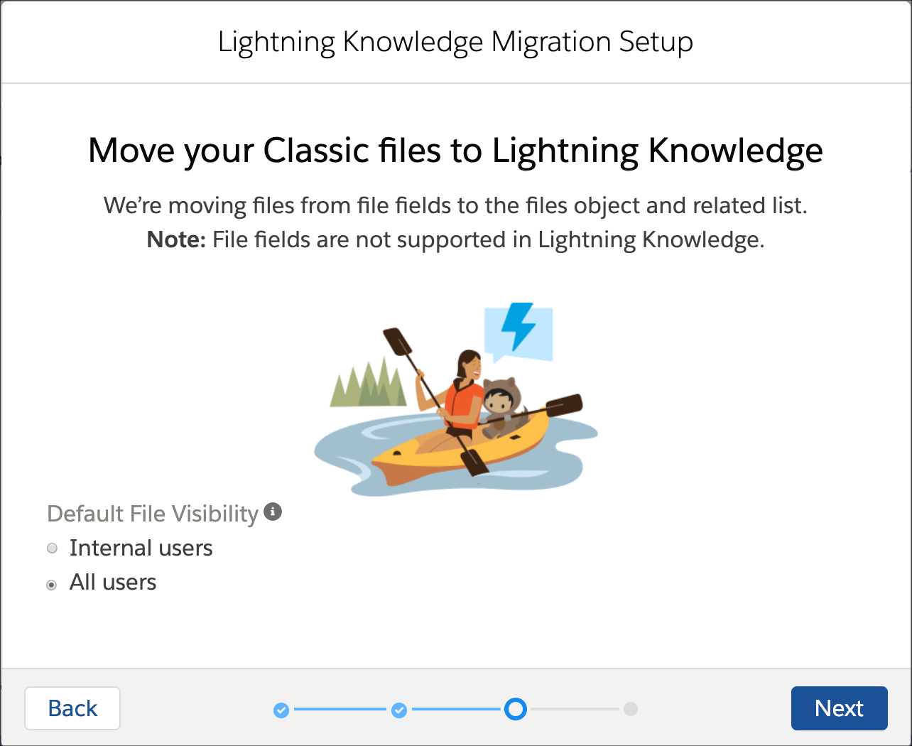 Lightning Migration tool displaying the default file visibilty options.