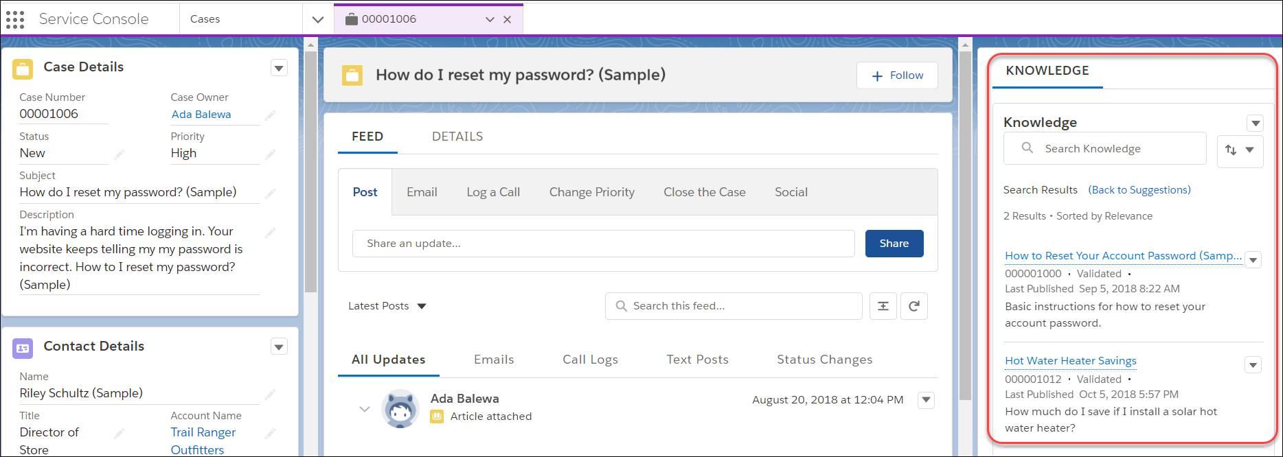 ケース内の [ナレッジ] ペイン。「How to Reset Your Account Password (アカウントのパスワードのリセット方法)」と「Hot Water Heater Savings (温水器による節約)」という記事が表示されています。