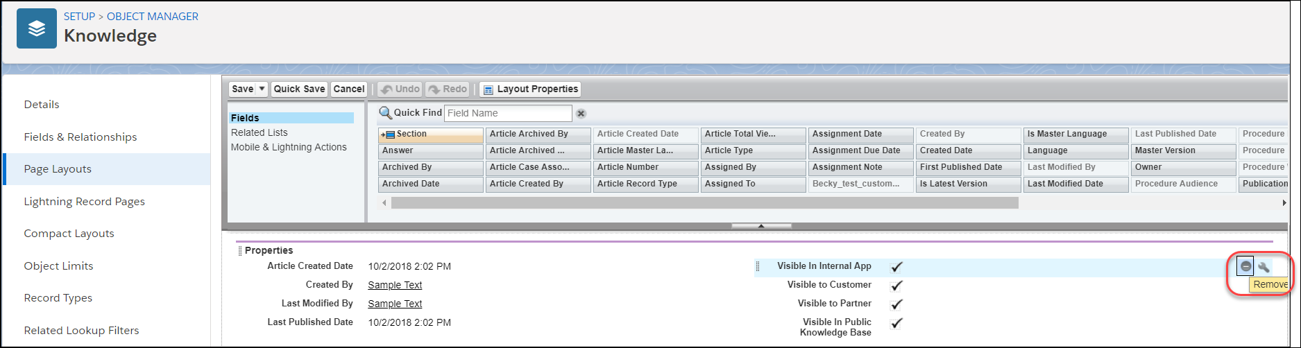 Page Layout Editor scrolled to Properties section with Visible in Internal App and the Remove button highlighted.