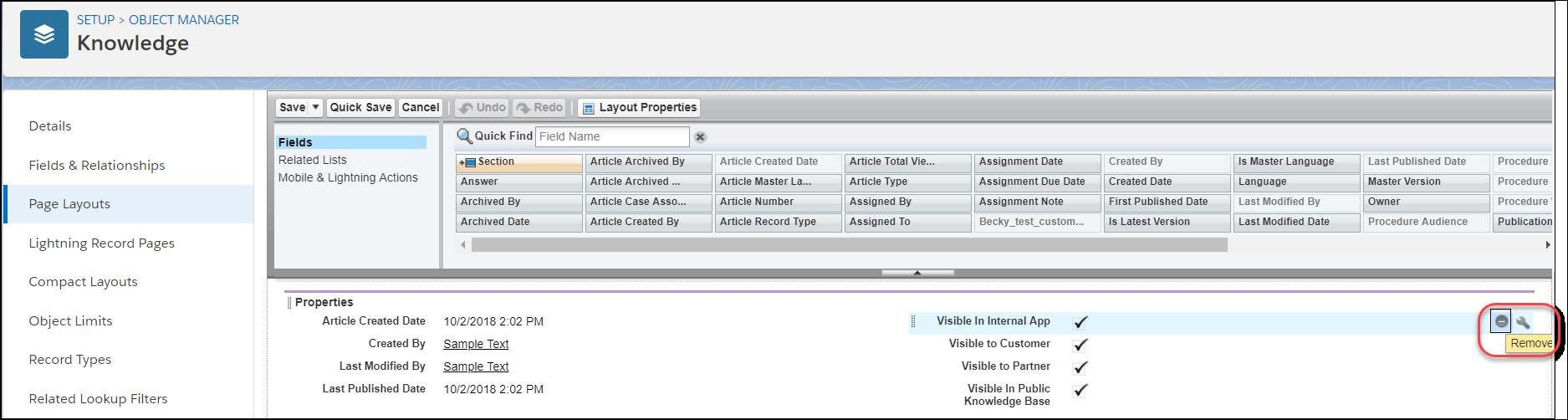 [内部アプリケーションに公開] と [削除] ボタンが強調表示された [プロパティ] セクションまでスクロールしたページレイアウトエディタ。