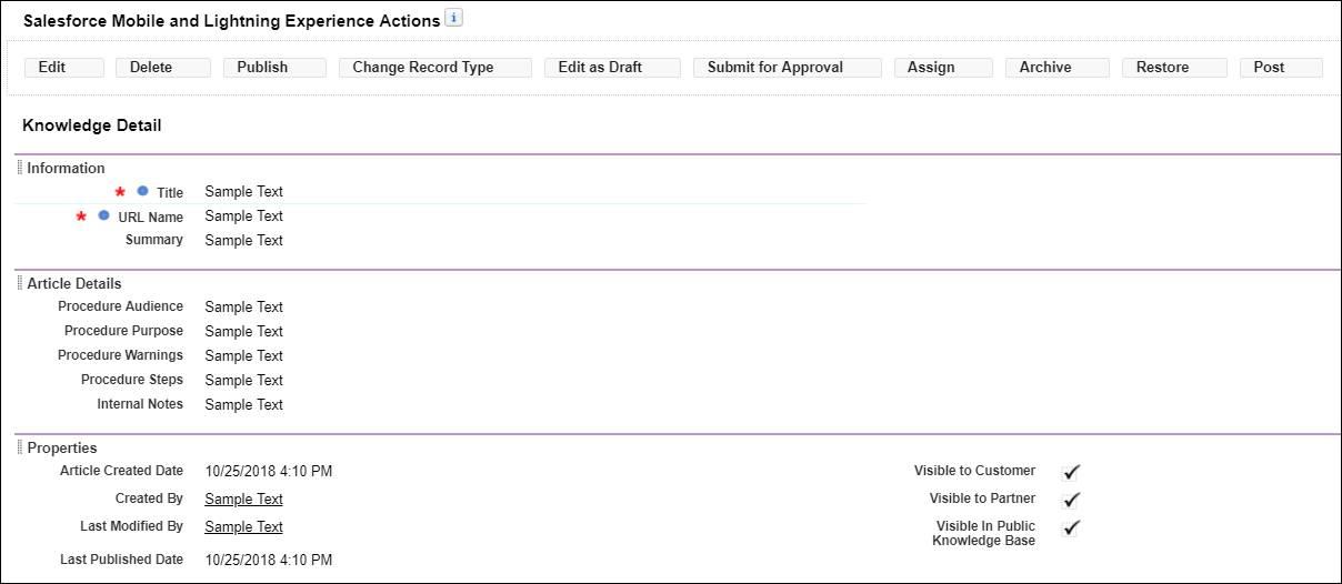 新しい [Internal Notes (内部メモ)] 項目と追加のアクションを含め、すべてのアクションと項目が表示された [Procedure - Authors (手順 - 著者)] ページレイアウト。