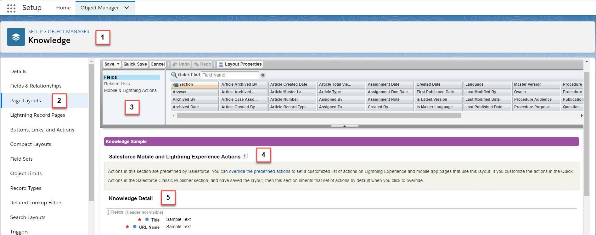 ナレッジオブジェクトの [ページレイアウト] が選択され、ページレイアウトエディタが表示されています。