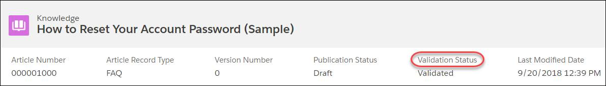 Sample article listing information: article number, article record type, version number, publication status, validation status, and last modified date.