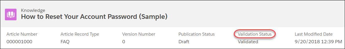 記事番号、記事レコードタイプ、バージョン番号、公開状況、検証状況、最終更新日の情報を表示するサンプル記事。