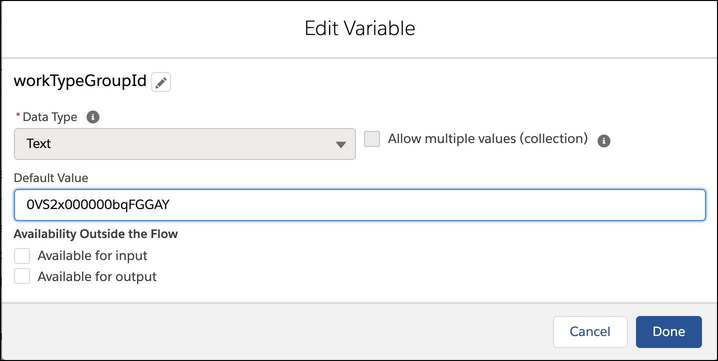 The Edit Variable window showing the Default Value changed to the code of the new appointment topic.