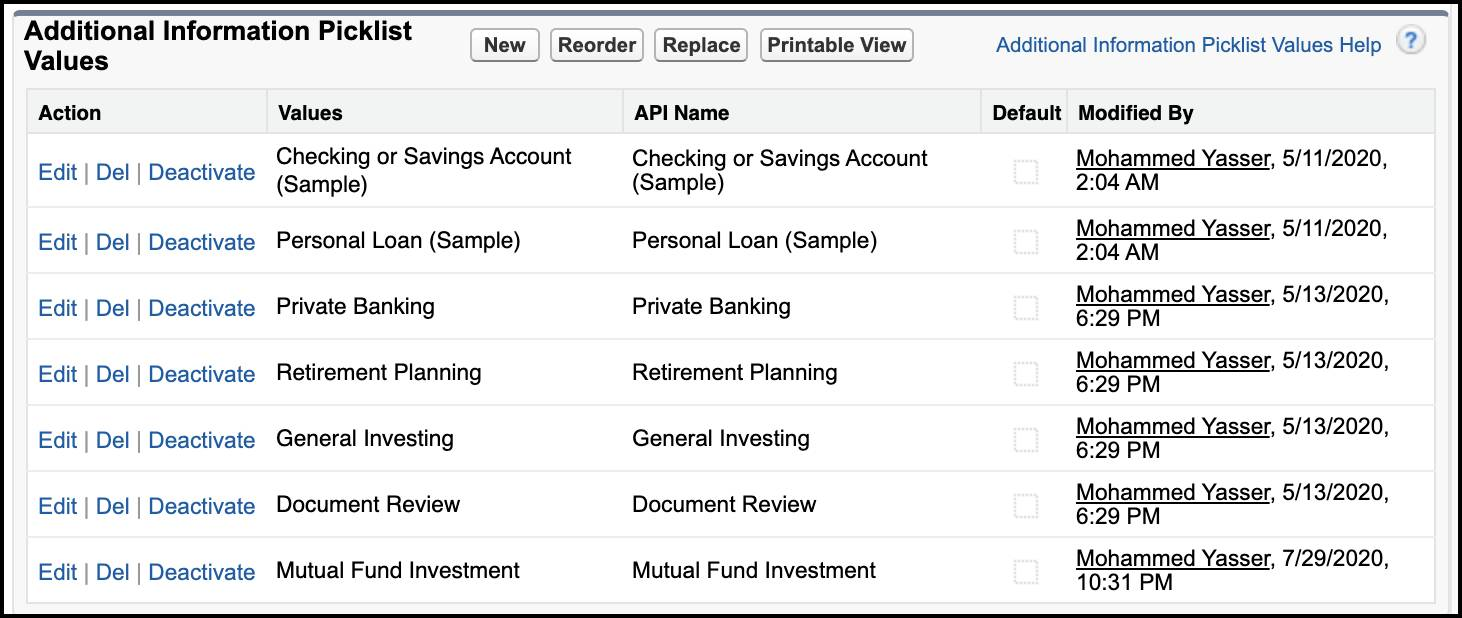 The section Additional Information Picklist Values showing appointment topics.