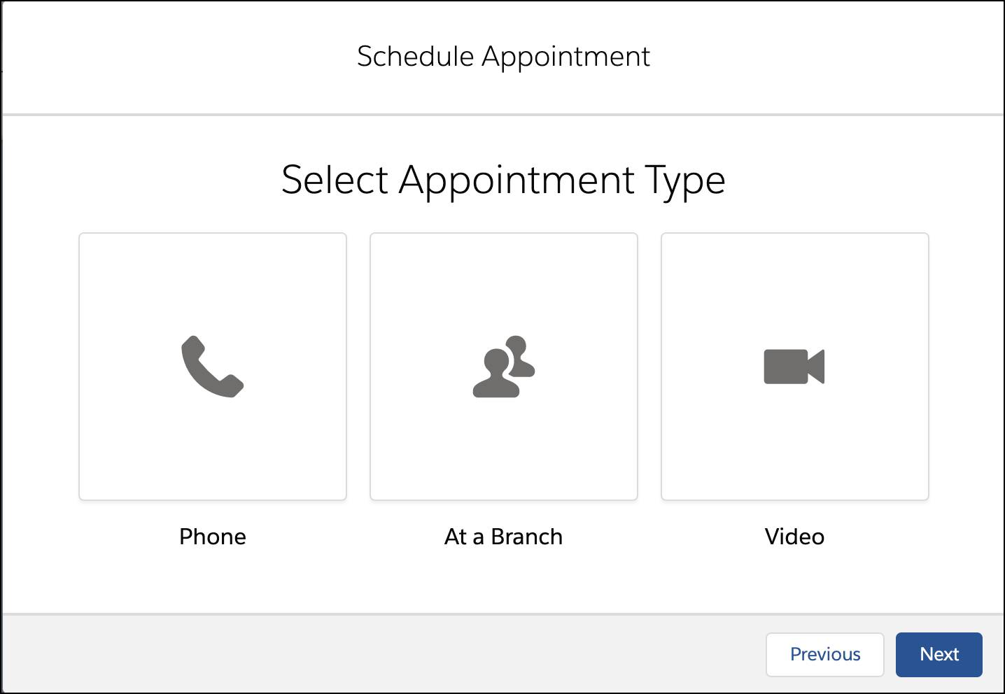 The Select Appointment Type window showing the appointment types available.