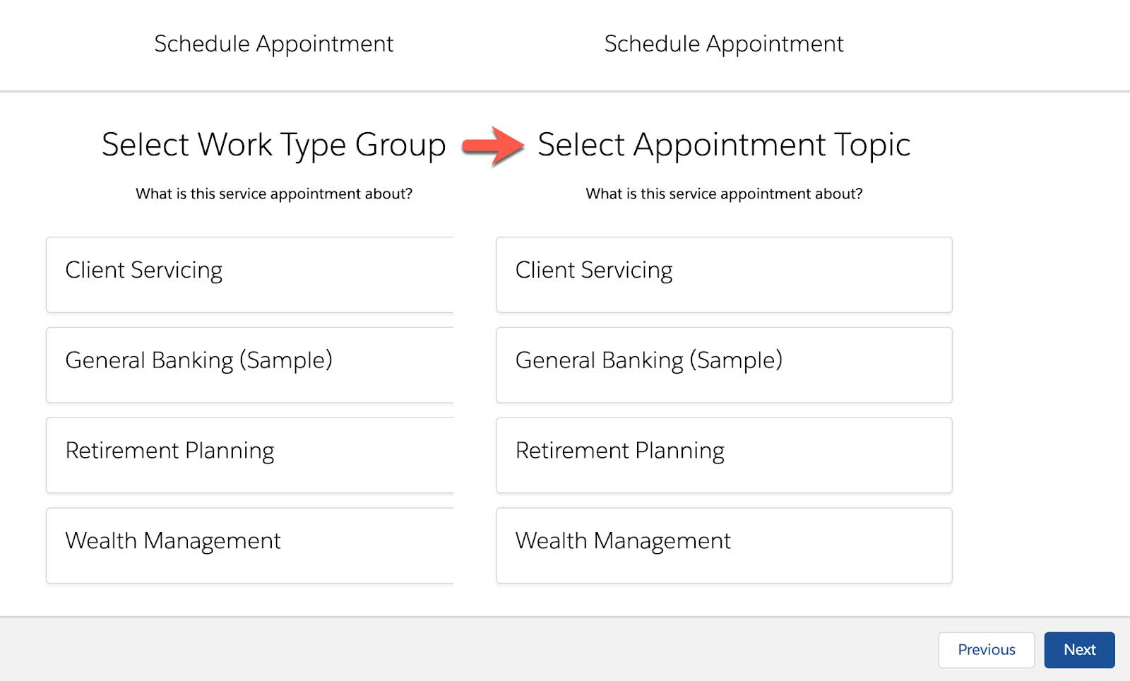 The Schedule Appointment window showing the change in name of Work Type Group.