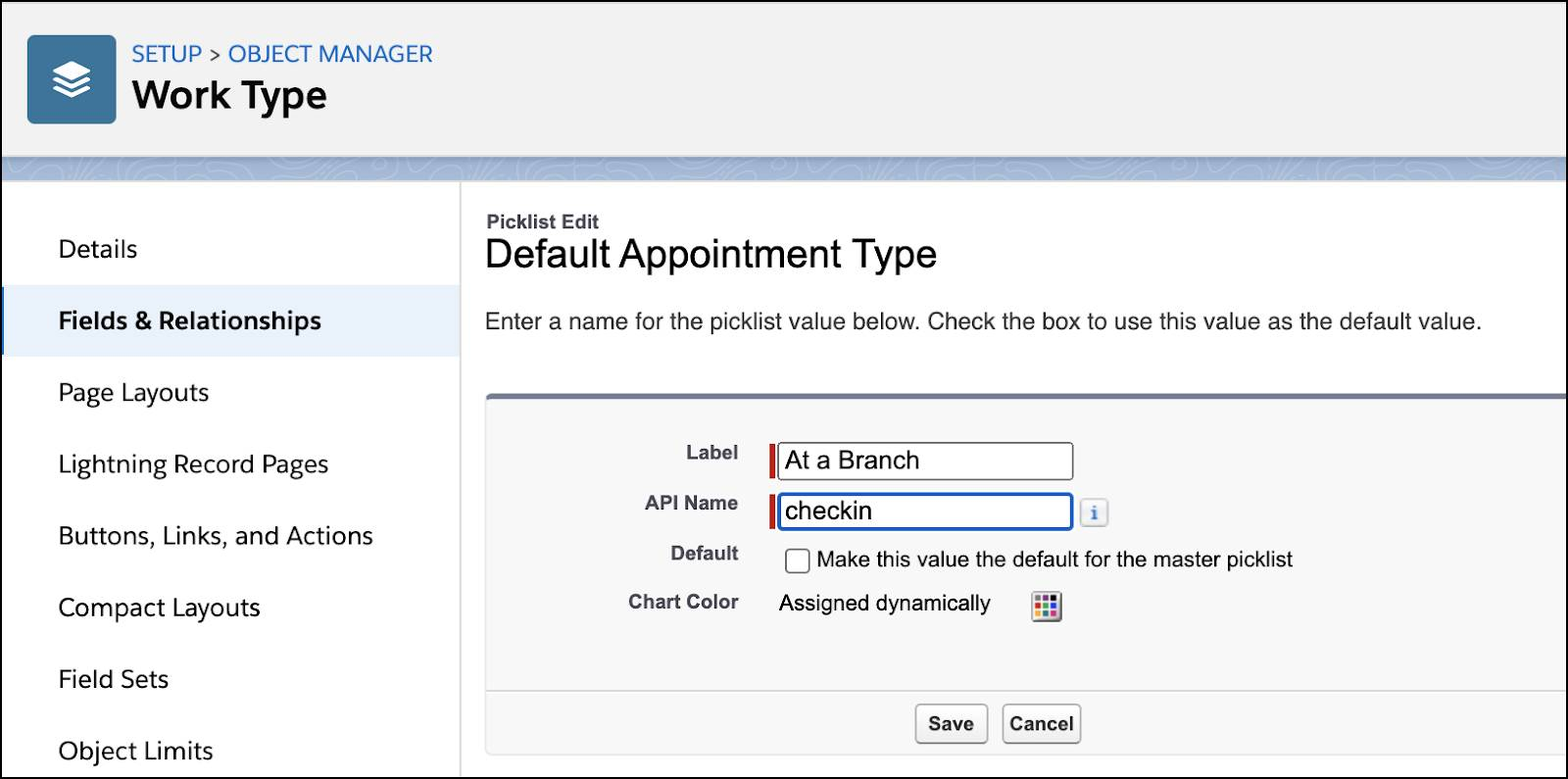 The Default Appointment Type window showing the API name changed to checkin.