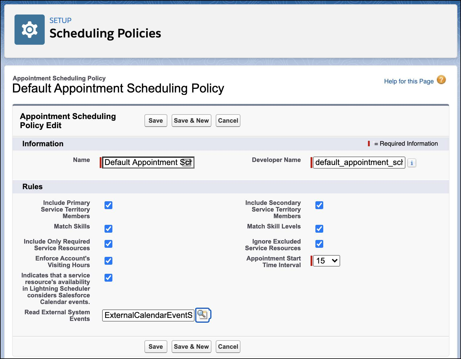 The Default Appointment Scheduling Policy page showing an Apex class selected.