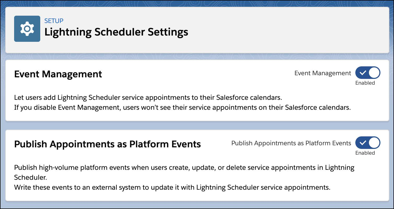 The Lightning Scheduler Settings page showing Publish Appointments as Platform Events enabled.