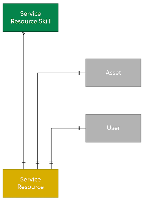 Part of the data model showing the relationship between Service Resource Skill, Service Resource, Asset, and User.