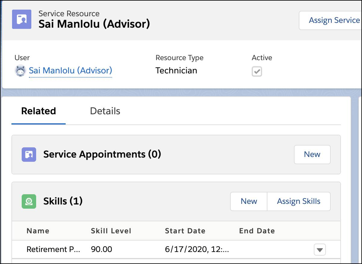 Sai Manlolu's Service Resource record page showing his Skills.