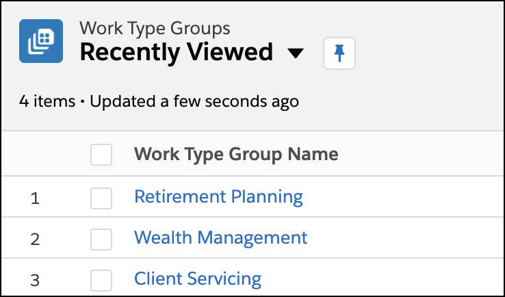A list of appointment topics or work type groups.