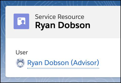 The record page of service resource Ryan Dobson showing him to be the user Ryan Dobson who's an Advisor.