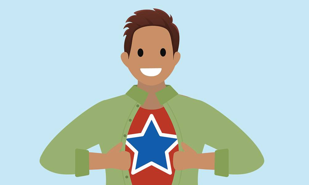 A superhero showing a star on his chest.